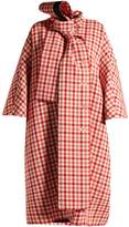 Balenciaga Gingham tie-neck wool-blend coat
