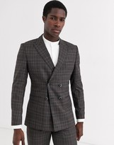 Jack and Jones double breasted check suit jacket in grey