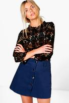 Boohoo Lily Button Front Mini A-Line Skirt