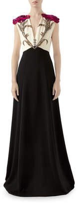 Gucci Floral Embroidered Jersey Gown