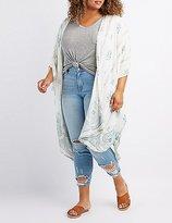 Charlotte Russe Plus Size Border Print Duster Kimono