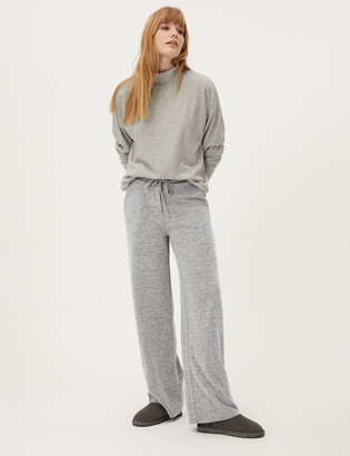 Marks and Spencer Jersey Textured Wide Leg Joggers