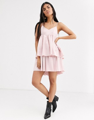 Lost Ink cami dress with tiered skirt-Pink