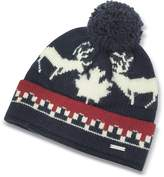 DSQUARED2 Nordic Deers Navy Blue and Burgundy Wool Blend Knit Hat w/Pom Pom