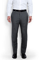 Lands' End Men's Tailored Fit Wool Year'rounder Dress Trousers-Heather Gray Pinstripe