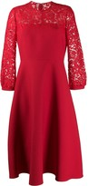 Valentino Lace Panel Flared Dress