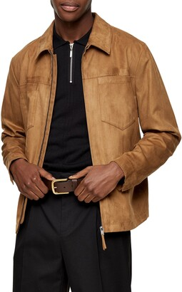 Topman Tommy Classic Fit Faux Suede Zip Shirt Jacket