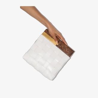 Bottega Veneta white snap leather clutch bag