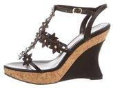 Oscar de la Renta Leather Wedge Sandals w/ Tags