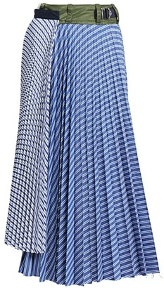Sacai Pinstripe Pleated Midi Skirt