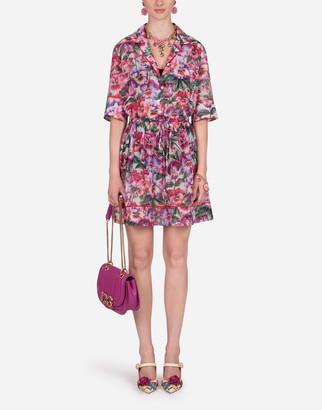 Dolce & Gabbana Batiste Shirt Dress With Violet Print