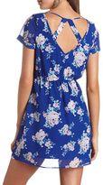 Charlotte Russe Back Cut-Out Floral Print Dress
