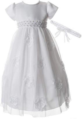 Keepsake Christening Girls Beaded Short Sleeve Cap Sleeve Babydoll Dress - Baby