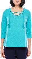 Sag Harbor 3/4 Sleeve V Neck T-Shirt-Womens