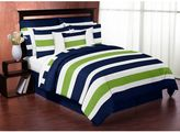 Sweet Jojo Designs Blue and Lime Green Stripe 3-Piece King Comforter Set