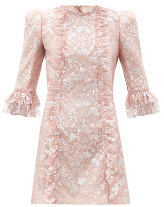 The Vampire's Wife The Love Letter Ruffled Metallic Lace Dress - Light Pink