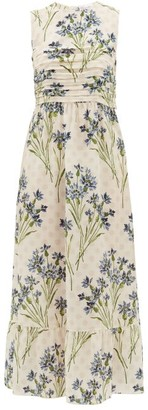 RED Valentino Pleated Cornflower-print Silk-crepe Dress - Womens - Cream Multi