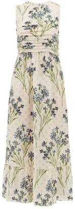 RED Valentino Pleated Cornflower-print Silk-crepe Dress - Womens - Cream Multi