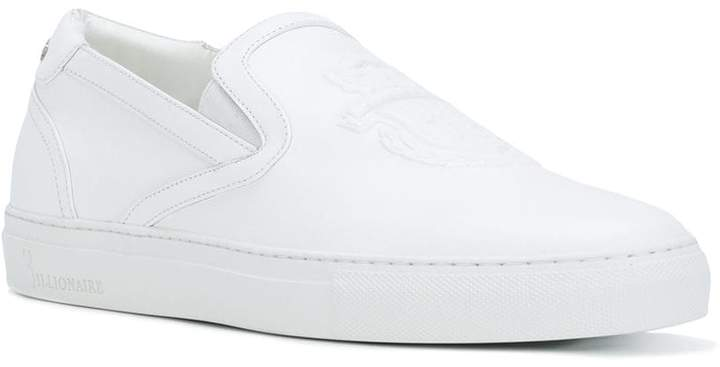Billionaire crest emblem slip-on sneakers