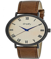 Simplify Unisex Brown Strap Watch-Sim2905