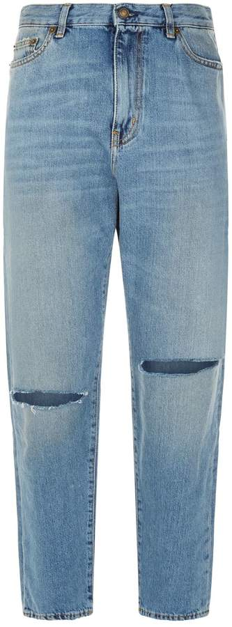 Straight High-Rise Ripped Knee Jeans