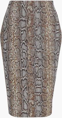 Victoria Beckham Cotton-blend Snake-jacquard Pencil Skirt