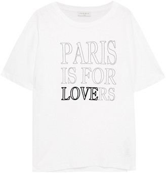 Sandro Pary Flocked Printed Cotton-jersey T-shirt