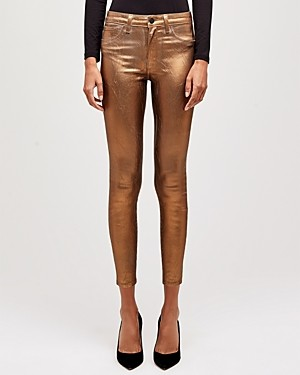 L'Agence Margot High-Rise Skinny Jeans in Black Cheetah