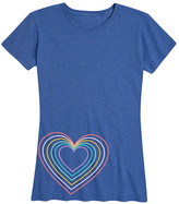 Instant Message Women's Women's Tee Shirts HEATHER - Heather Royal Blue Neon Heart Relaxed-Fit Tee - Women