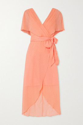 Alice + Olivia Darva Belted Wrap-effect Swiss-dot Silk And Cotton-blend Midi Dress - Peach