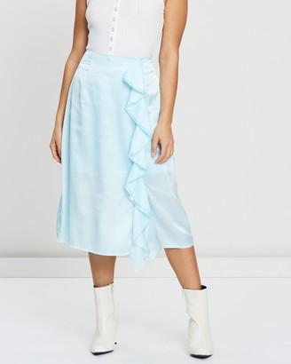 Missguided Petite Satin Ruffle Side Slit Midi Skirt