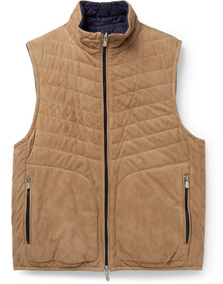 Brunello Cucinelli Reversible Quilted Suede Down Gilet