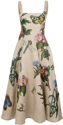 Oscar de la Renta Floral Jacquard Flared Dress