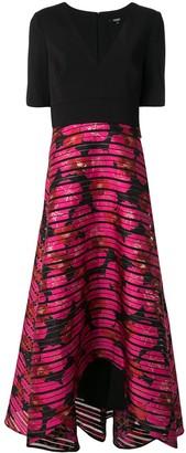 Badgley Mischka embroidered flared midi dress