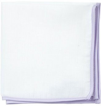 Proenza Schouler The Tie BarThe Tie Bar Lilac White Linen With Border Pocket Square