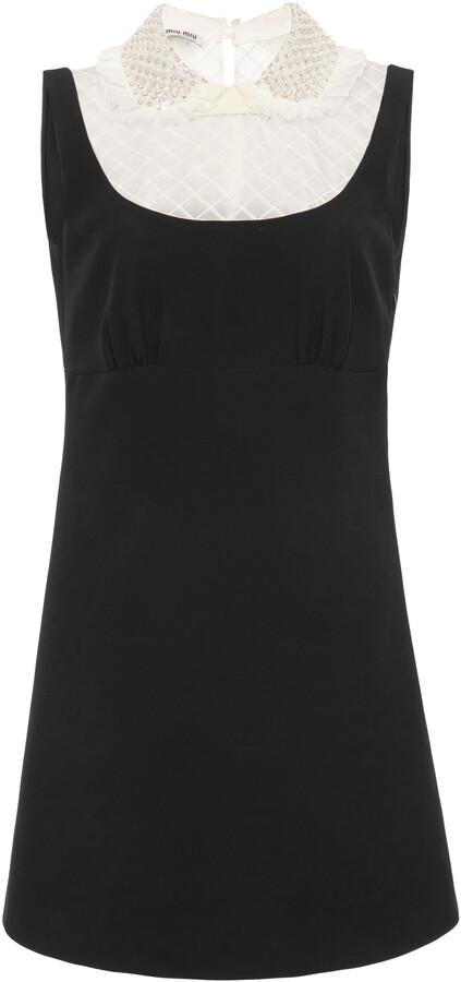 Miu Miu Women's Embellished Organza-Detailed Cady Mini Dress - Black - Moda Operandi