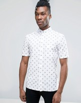 French Connection Short Sleeve Shirt in Regular Fit with Dot Print