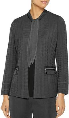 Misook Textured Knit Scarf-Neck Jacket
