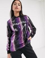 adidas x Anna Isoniemi sequin football shirt in purple