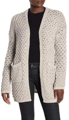 Woven Heart Open Front Knit Cardigan