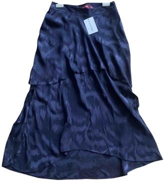 Sies Marjan Navy Silk Skirt for Women
