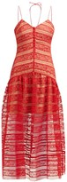 Self-Portrait Floral Lace-panelled Midi Dress - Womens - Red