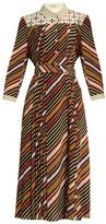 Bottega Veneta Diagonal-print silk-crepe midi dress