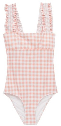 Ephemera - Ruffled-strap Gingham Swimsuit - Pink Print