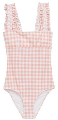 Ephemera - Ruffled-strap Gingham Swimsuit - Womens - Pink Print