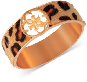 GUESS Gold-Tone Cheetah-Print Faux-Fur Animal Print Bangle Bracelet