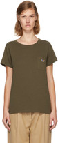 MAISON KITSUNÉ Khaki Tricolor Fox Patch Pocket T-shirt
