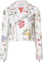 Alice + Olivia Alice+Olivia - floral embroidery biker jacket - women - Lamb Skin - S