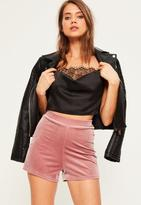 Missguided Pink High Waisted Velvet Shorts
