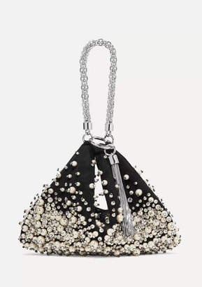 Jimmy Choo Callie Faux Pearl And Crystal-embellished Suede Clutch - Black